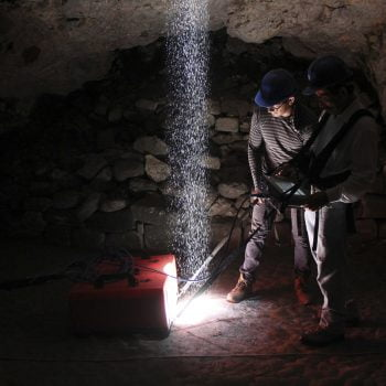 Archaeological survey in a natural cave.