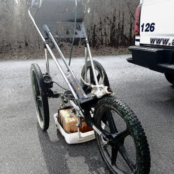 GSSI utility cart with a hood ornament.