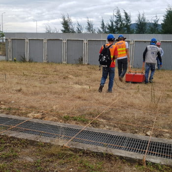 GPR detect to cable electric underground